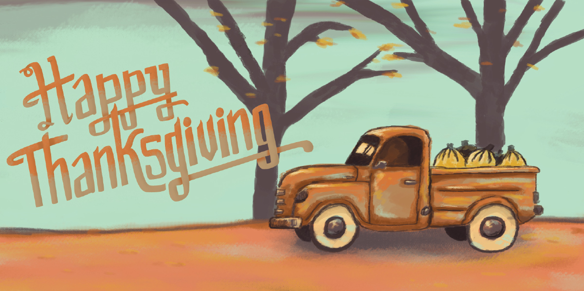 Happy Thanksgiving Illustration.